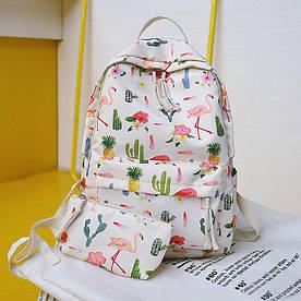 Стильный рюкзак с фламинго и кактусами