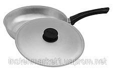 Сковорода БИОЛ А261 (диаметр 260 мм) с рифленым дном с крышкой, бакелитовая ручка, фото 3