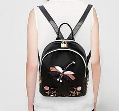 Рюкзак женский Стрекоза с вышивкой и стразами