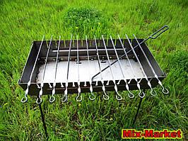 Розкладний мангал - валізу на 12 шампурів + КОЧЕРГА В ПОДАРУНОК