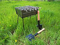 Раскладной мангал - чемодан на 6 шампуров + саперная лопатка