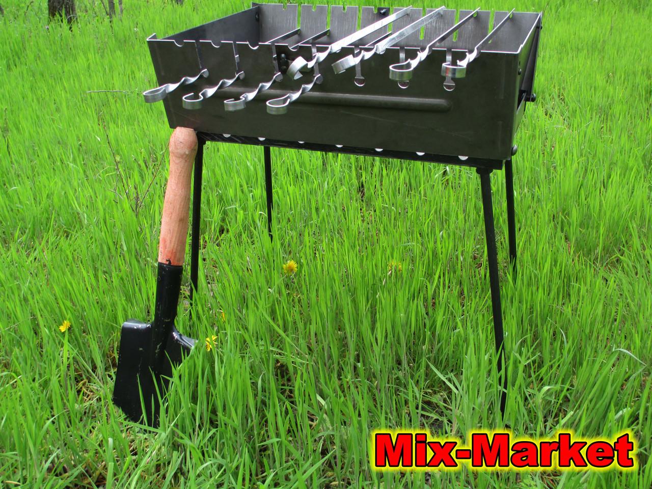Розкладний мангал - валізу на 8 шампурів + саперна лопатка