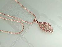 Набор кулон и цепочка 50 см 2 мм розовая позолота