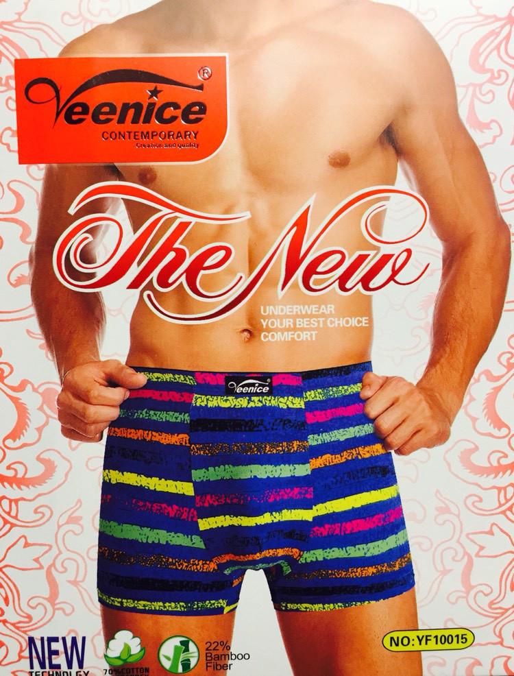 Трусы мужские боксёры хлопок + бамбук VeeNice размер L-3XL (46-54) разноцветные