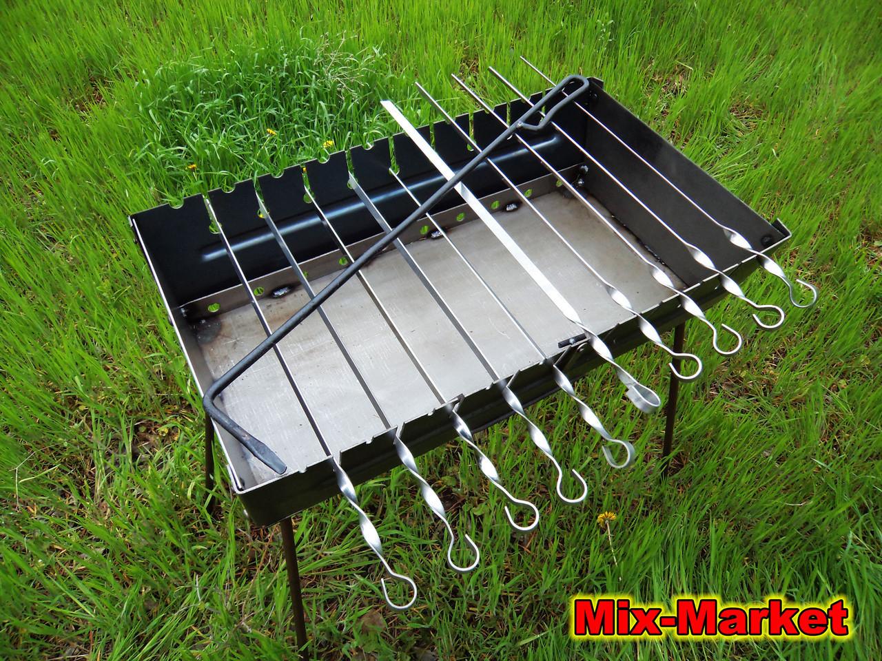 Стальной раскладной мангал чемодан на 10 шампуров + комплект шампуров