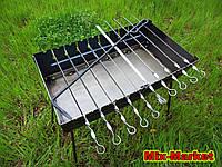 Стальной раскладной мангал чемодан на 10 шампуров + комплект шампуров, фото 1