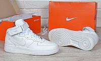 Кроссовки Nike Air Force 1 High White кожаные высокие белые, Белый, 40