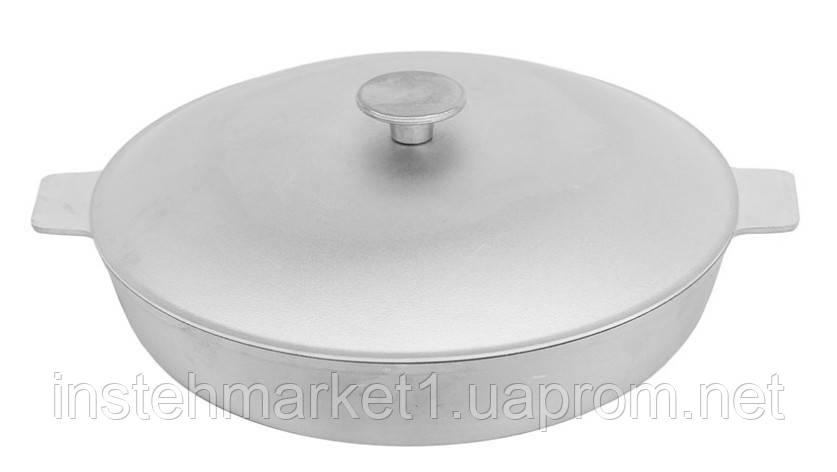 Сковорода-жаровня алюминиевая с рифленым дном БИОЛ А301 (300х119 мм) крышка, две ручки