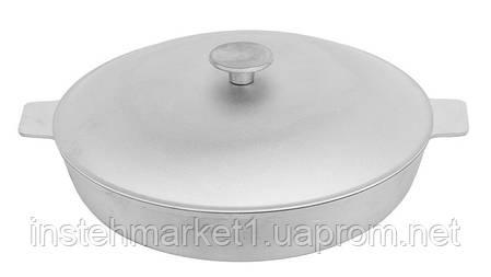 Сковорода-жаровня алюминиевая с рифленым дном БИОЛ А301 (300х119 мм) крышка, две ручки, фото 2
