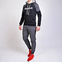 Спортивный костюм Reebok (Рибок) / черная кенгурушка и серые штаны с манжетами, фото 3