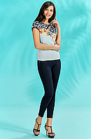Бело-голубая леопардовая блуза
