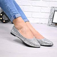 Туфли балетки женские Sandy серебро