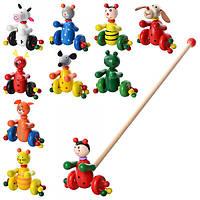 Деревянная игрушка Каталка MD 0024 (100шт) на палке48,5см,животные12см,10видов,в кульке,52-12-11см