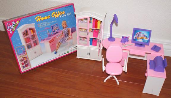 "Мебель ""Gloria"" 24018 для офиса барби , комп, письм стол, стул, полка, шкаф, аксесс, в кор"