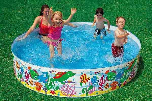 Детский каркасный бассейн Intex  солнечные рыбки (244-46см)