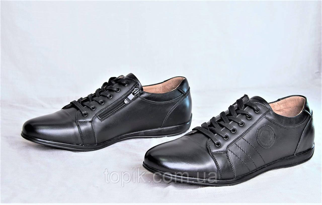 Мужские туфли мокасины черные натуральная кожа популярные легкие и удобные (Код: 1127а)
