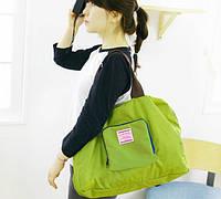 Сумка летняя с короткими ручками складывается компактно Салатовая ( спортивная сумка )