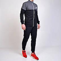 Мужской спортивный костюм Nike (Найк) кофта на молнии, брюки с манжетами - черный/серый, фото 2