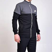 Мужской спортивный костюм Nike (Найк) кофта на молнии, брюки с манжетами - черный/серый, фото 3