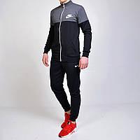 Мужской спортивный костюм Nike (Найк) кофта на молнии, брюки с манжетами - черный/серый