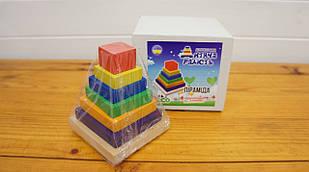 """ЭКО-игрушка """"Пирамида деревянная квадратная 12х9,5х9,5 см"""" арт. 002 коробка 13х13х13 см"""