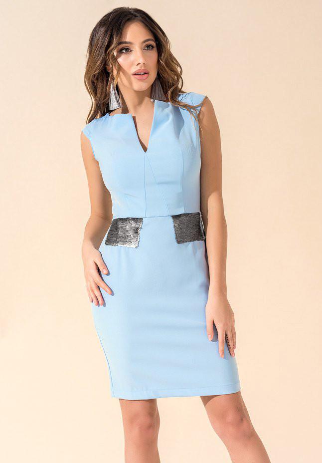 28dfdde3117 Женское летнее платье-футляр голубого цвета с пайетками. Модель 17727 -  Irse в Одессе
