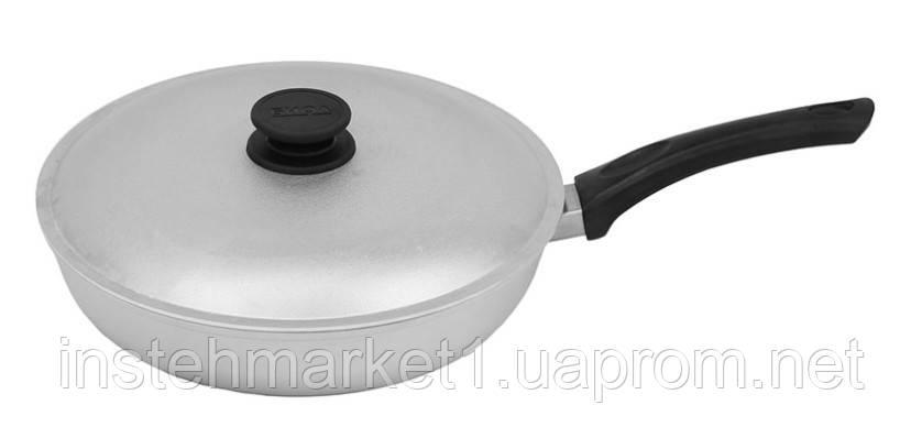Сковорода БИОЛ А263 (диаметр 260 мм) с ровным дном с крышкой, бакелитовая ручка