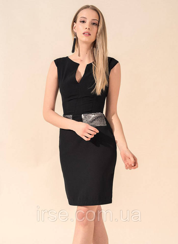 c568a68b327 Женское летнее платье-футляр черного цвета с пайетками. Модель 17731 - Irse  в Одессе