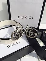 Женский кожаный ремень Gucci белый серебро 3,8 см (реплика), фото 1