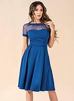 c87863c1b89 Женское коктейльное платье цвета электрик с сеткой. Модель 17732. Размеры  42-46