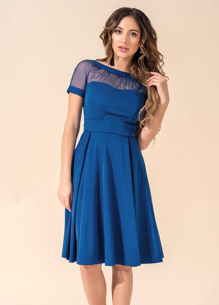 bb141444b5c4efd Женское коктейльное платье цвета электрик с сеткой. Модель 17732. Размеры 42 -46, цена 700 грн., купить в Одессе — Prom.ua (ID#528394131)
