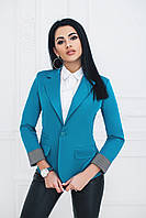 Пиджак на одну пуговицу бирюзовый, фото 1