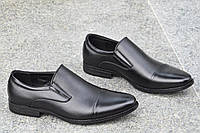 Мужские модельные классические туфли черные без шнурков легкие и удобные (Код: Т1119а)