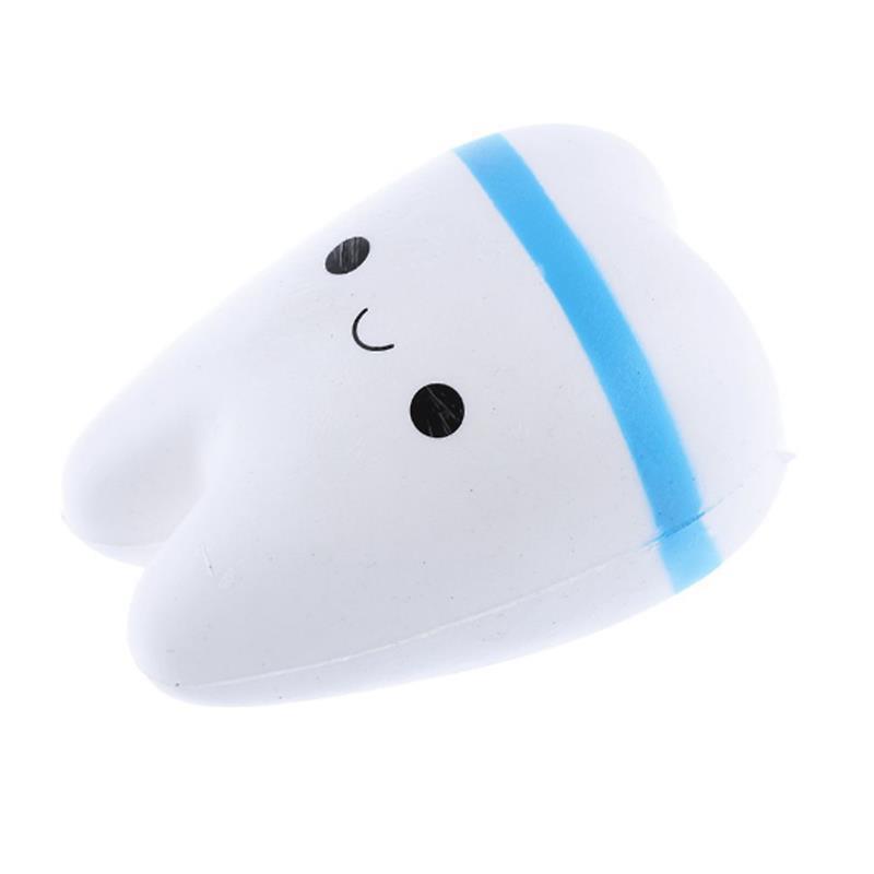 Мягкая игрушка SUNROZ Teeth Медленно растущая игрушка антистресс Зуб, 11 см, Бело-Синяя (SUN0339)