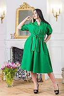 """Нарядное платье с пышной юбкой и поясом """"Бусинка"""" Zanna Brend 8137 зеленый, фото 1"""