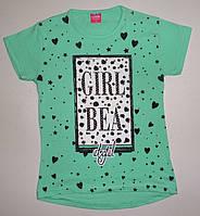 Туника-футболка для девочки 8, 9, 10, 11, 12 лет (стразы + бусины)