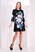 Женское Платье, цвет: принт-кожа отделка
