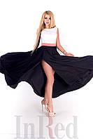 Красивое летнее женское  платье цвет: черно-белый, размер: 36, 38
