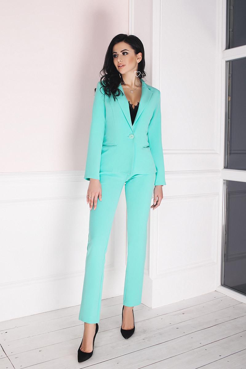 609b2d22709b Костюм женский классический брюки и пиджак - Бирюзовый - sez-on.com Нижнее  белье