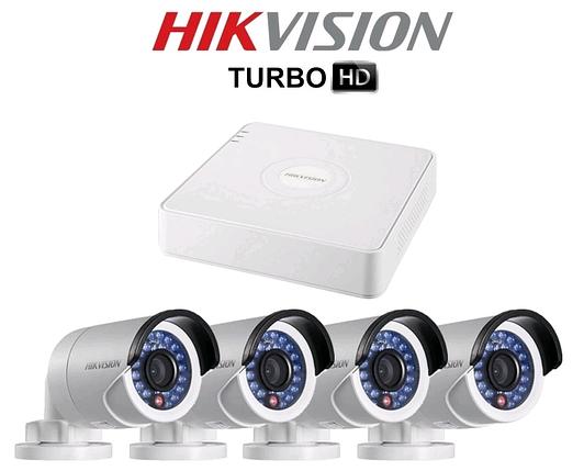 Комплект TurboHD видеонаблюдения Hikvision DS-J142 I ( 7104HQHI-F1/N + 4*2CE16DOT-IR(3.6) ), фото 2