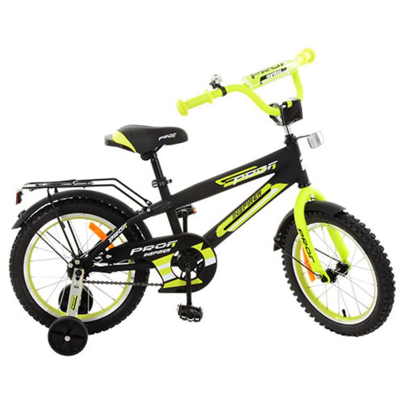 Детский двухколесный велосипед для мальчика PROFI 14 дюймов салатовый с черным, G1451 Inspirer