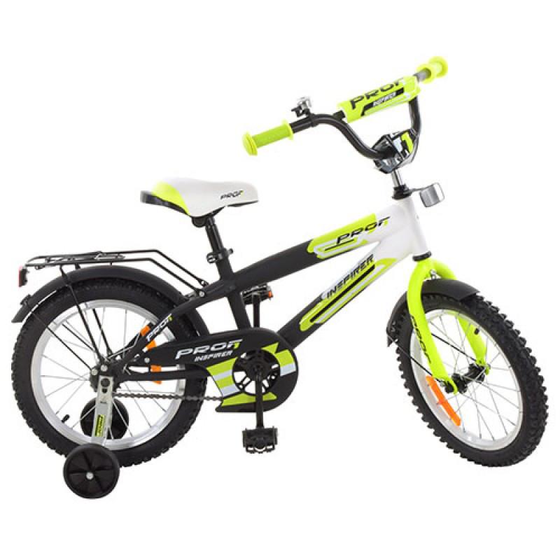Детский двухколесный велосипед для мальчика PROFI 14 дюймов салатовый с черным, G1454 Inspirer