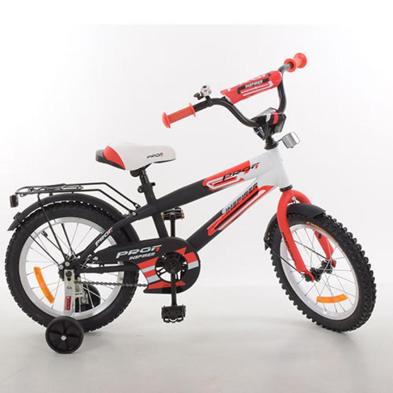 Детский двухколесный велосипед для мальчика PROFI 14 дюймов красный с черным, G1455 Inspirer