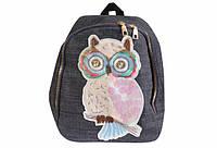Рюкзак підлітковий для дівчинки Kidis джинсовий з совою 7990 (17129-1), 27 * 23 * 12 см