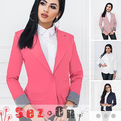 Пиджак женский удлиненный без подкладки рукав с отворотом