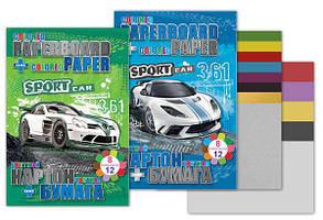 Набір: картон + папір, картон 8арк з 2арк металік, папір двосторонній 70г Kidis Sport Car