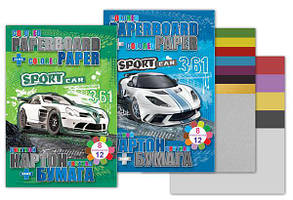 Набор:картон + бумага, картон 8л с 2 л металик, бумага двухсторонний 70г Sport Car