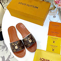 Женские тапочки из натуральной кожи Louis Vuitton