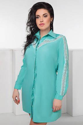 """Короткое платье-рубашка свободного кроя """"Reez"""" с кружевом и длинным рукавом (большие размеры), фото 2"""
