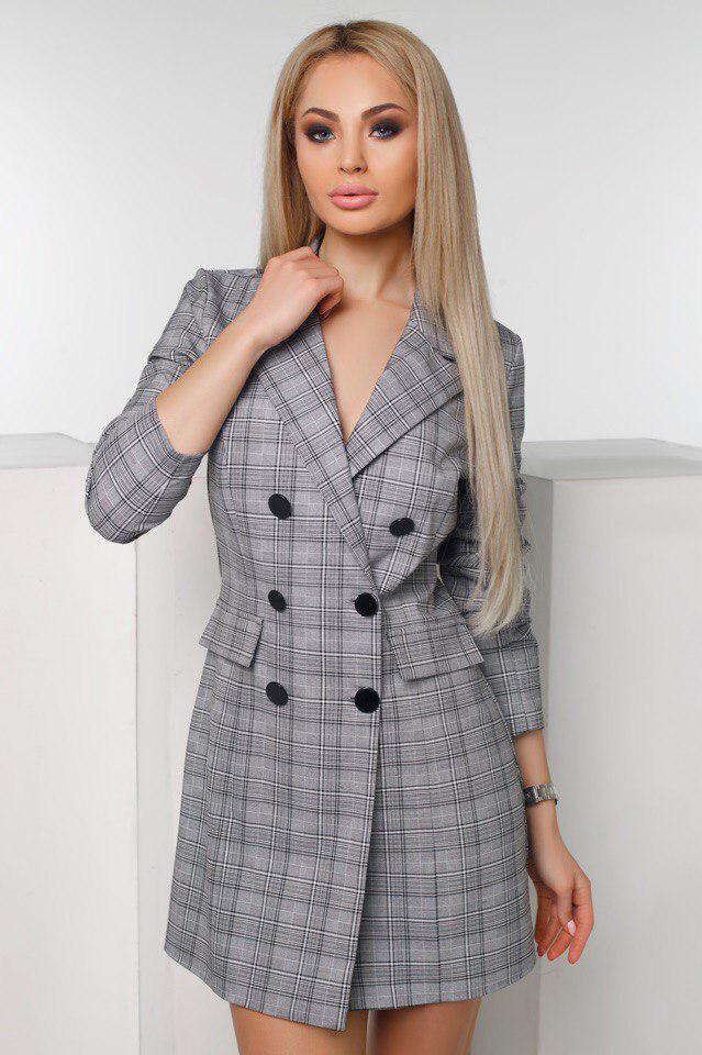 """Короткое стильное платье-пиджак в клетку """"TIARA"""" с четвертным рукавом (2 цвета)"""